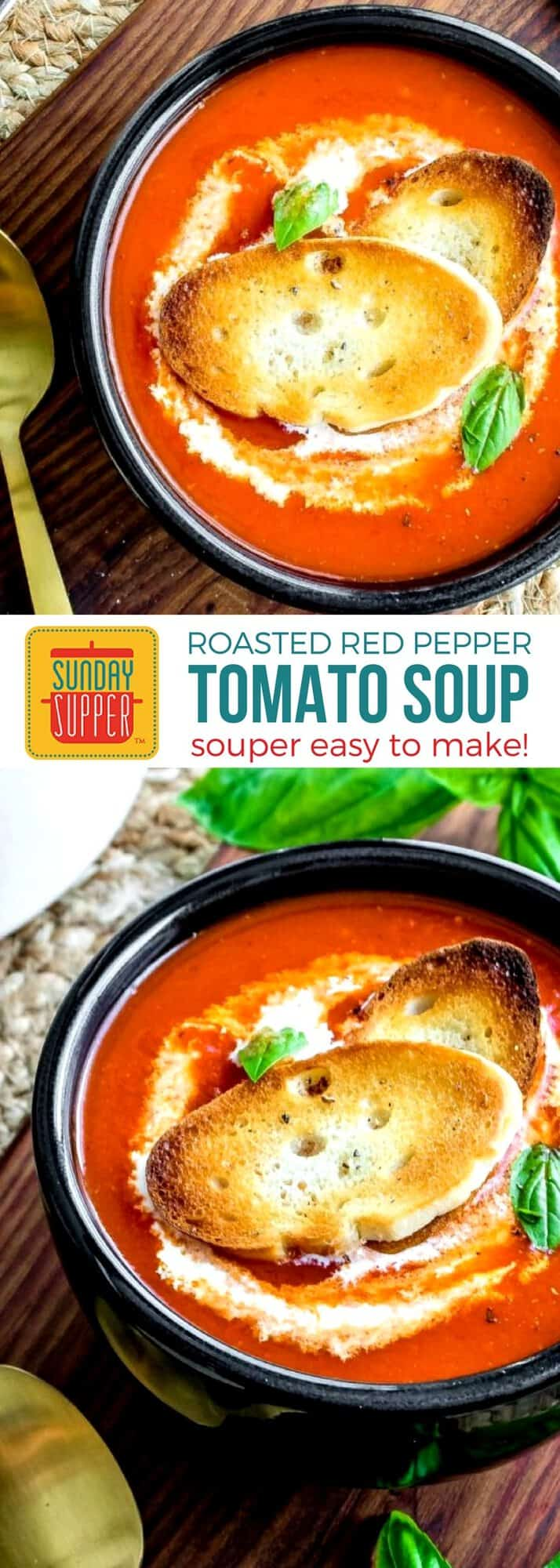 Get ready for fall with our simple comfort food recipes. Make a big batch of this Roasted Red Pepper Tomato Soup for dinner and gather the family around the table. This simple, smoky soup only uses a few simple ingredients so it is easy to make. It's the perfect cold weather comfort food. #SundaySupper #ComfortFoodRecipes #RoastedRedPepperTomatoSoup