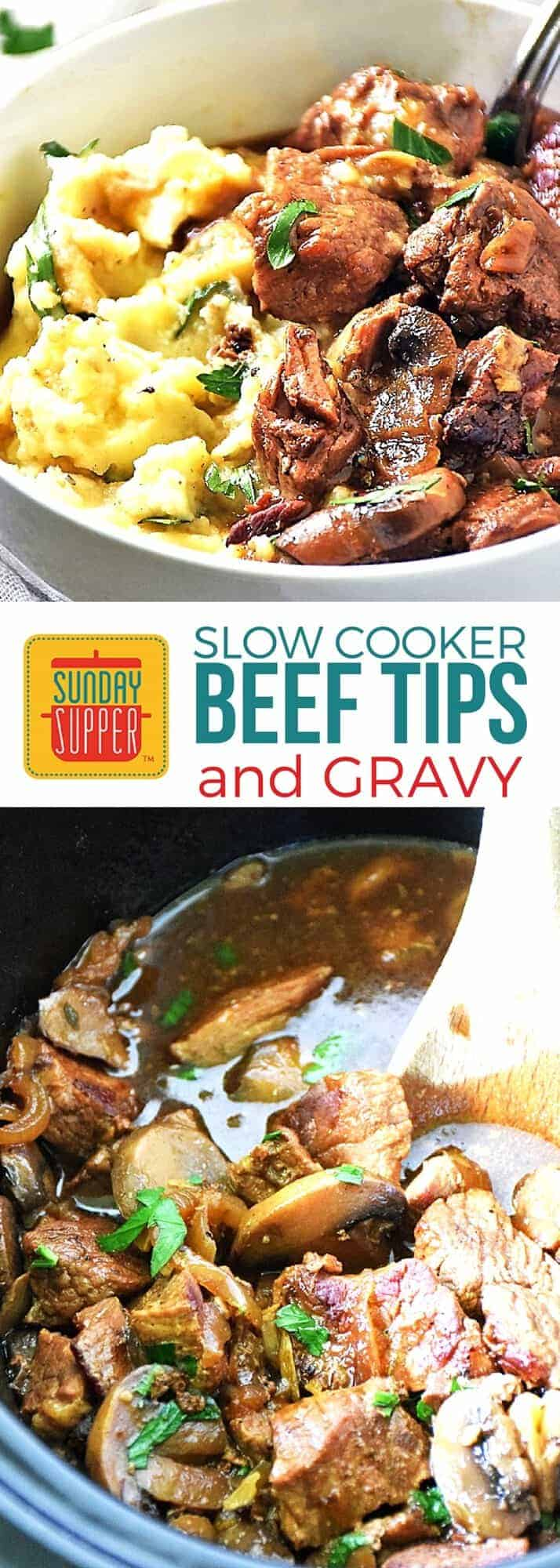Comfort food at its best! Our Slow Cooker Beef Tips and Gravy is an easy recipe that will satisfy you & feed your comfort food cravings! Set it and forget it and come home to a comforting family dinner. Budget-friendly and family friendly meal! #SundaySupper #EasyRecipe #SlowCookerRecipes