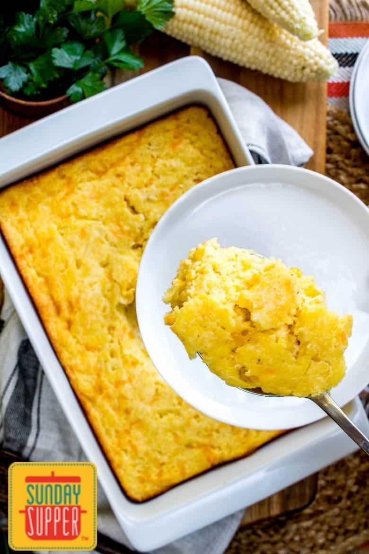 Baked Creamed Corn Casserole #SundaySupper