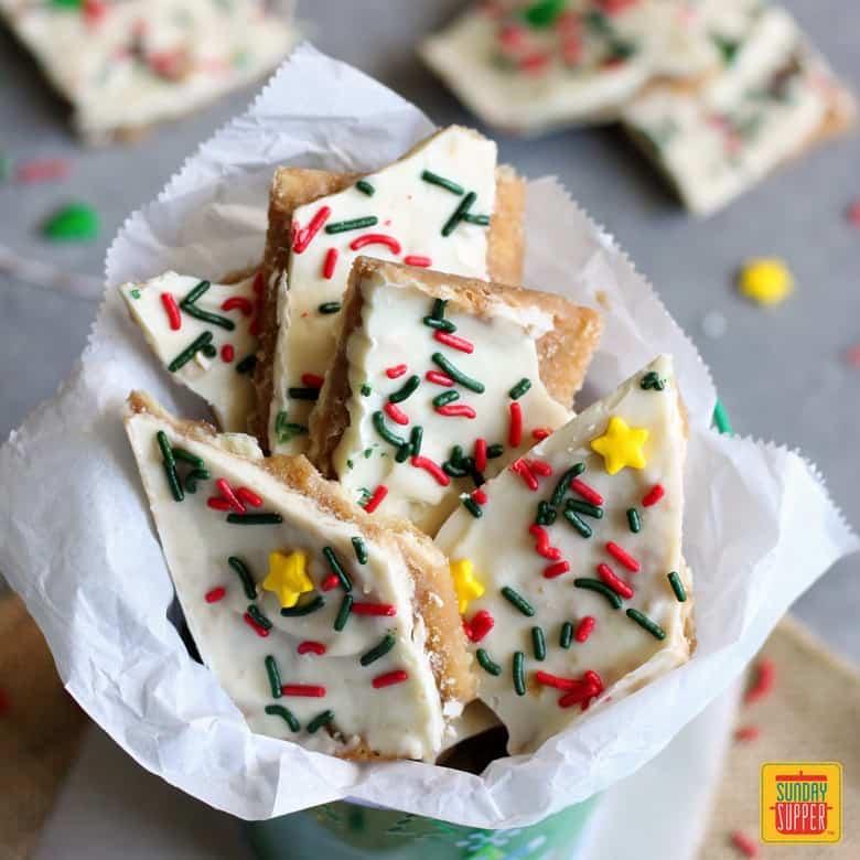White Chocolate Christmas Crack Recipe #SundaySupper