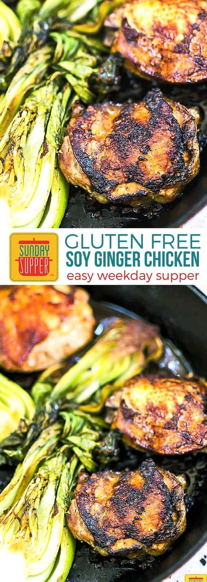 Gluten Free Soy Ginger Chicken Thighs recipe. Crispy chicken skin, tender dark meat, and an affordable price sticker; what's not to love! These Soy Ginger Chicken Thighs take my favorite protein and give them an Asian flare. While this recipehas so many layers of flavors, it's composed of only a few simple ingredients. This recipe is quick and easy to make which is why we love it for weekday supper and our list of Gluten Free Holiday Recipes. #SundaySupper #GlutenFree #EasyRecipe