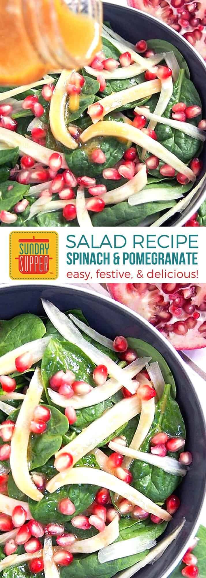 Our Spinach Pomegranate Salad is the perfect addition to your holiday table. With bright festive colors and just a few ingredients, this easy holiday salad recipe is light, fresh and adaptable. You'll love the little bites of pomegranate popping on your tongue! Perfect holiday salad recipe! #SundaySupper #SaladRecipes #HolidayRecipes