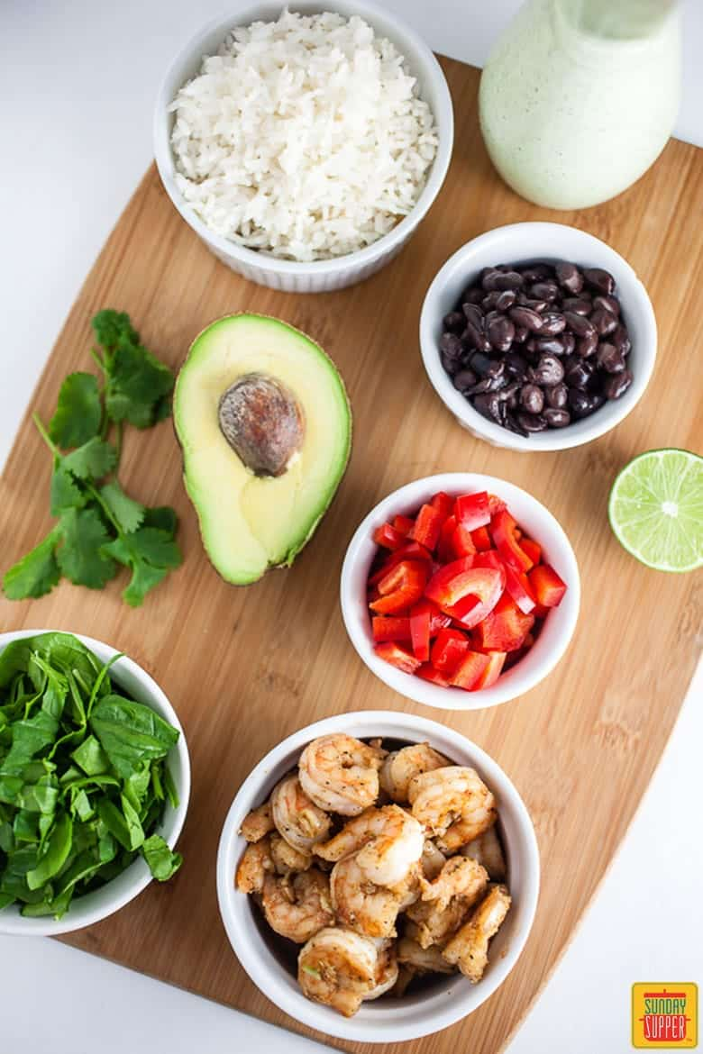 Mexican Rice Bowl with Shrimp and Cilantro Lime Dressing
