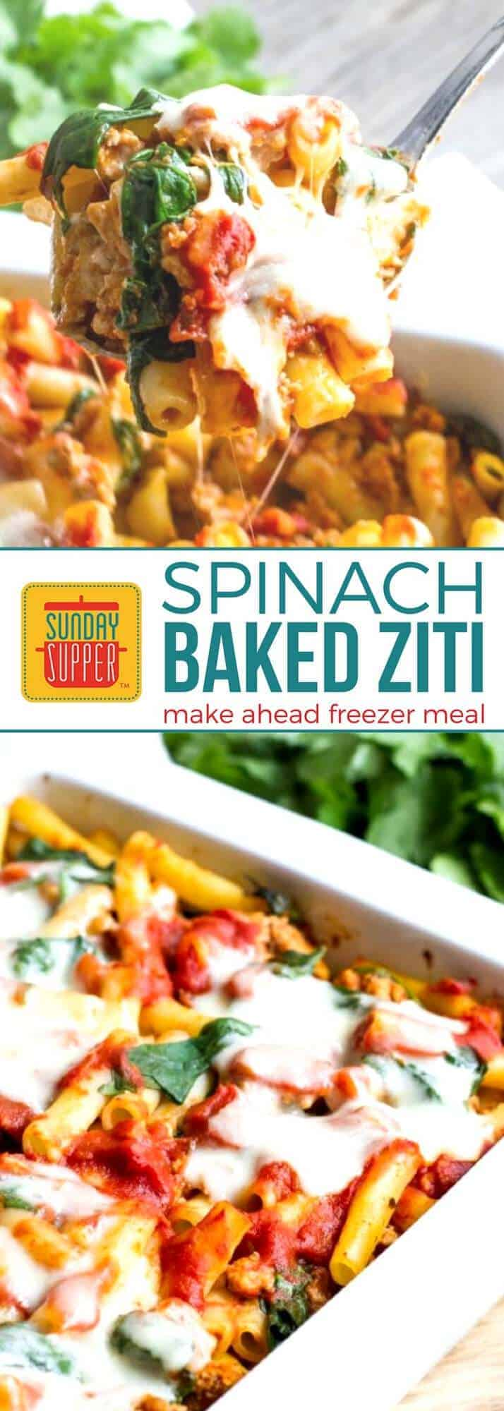 Start the new year healthier and organized with our Spinach Baked Ziti freezer meal recipe! This Sunday Supper recipe is a healthy make ahead freezer meal lightened up for the new year for the new you, but it's still total comfort food! It's a freezer meal to help make meal planning easier! Everyone in the family will love this easy recipe! #SundaySupper #HealthyRecipes #PastaRecipes #MakeAheadRecipes #FreezerMeal #MealPlanning