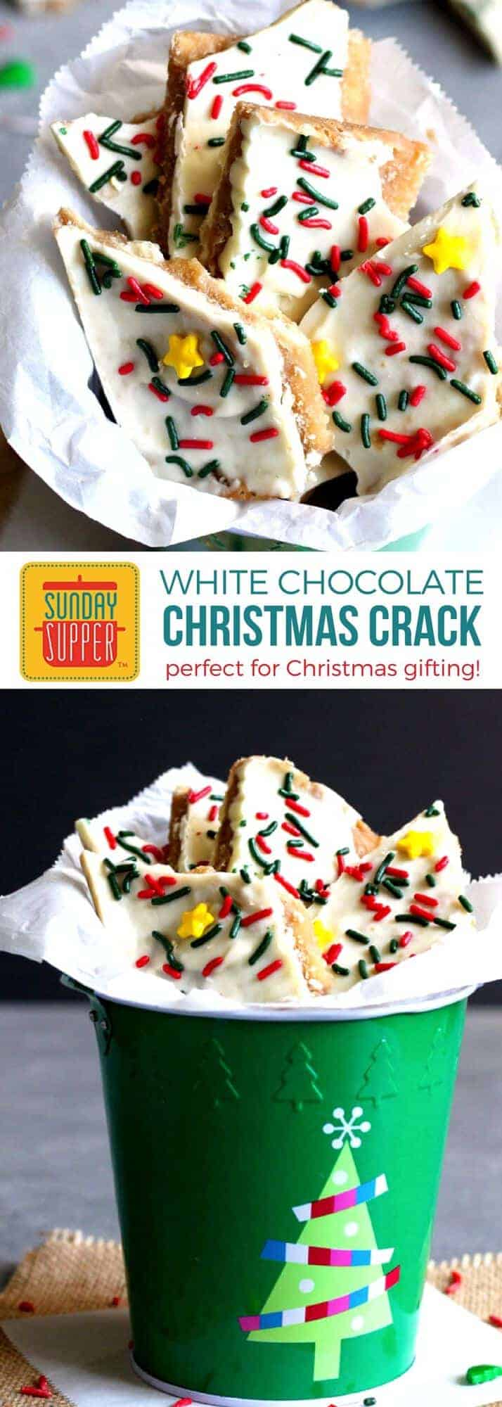 Our White Chocolate Christmas Crack Recipe is the EASIEST and most addicting treat you will make this holiday season. These treats will pack nicely in a little goodie bag tied up with a pretty bow, PERFECT forHomemade Holiday Food Giftsfor Christmas gifting or adding to your list of Buffet Menu Ideas for a quick dessert option! Kids and adults alike will LOVE this White Chocolate Christmas Crack!! #holidayrecipes #christmasrecipes #foodgift #easyrecipe #SundaySupper