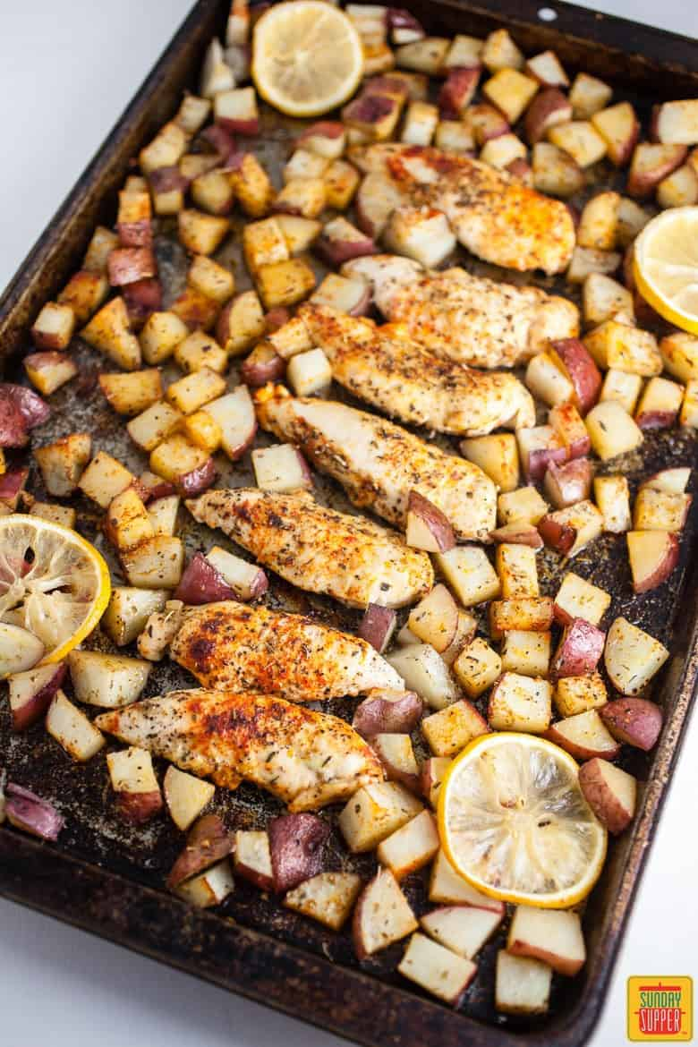Sheet Pan Greek Chicken and Potatoes fresh out of the oven