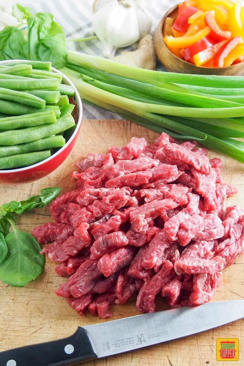 Asian Beef Stir Fry Recipe with Green Beans ingredients