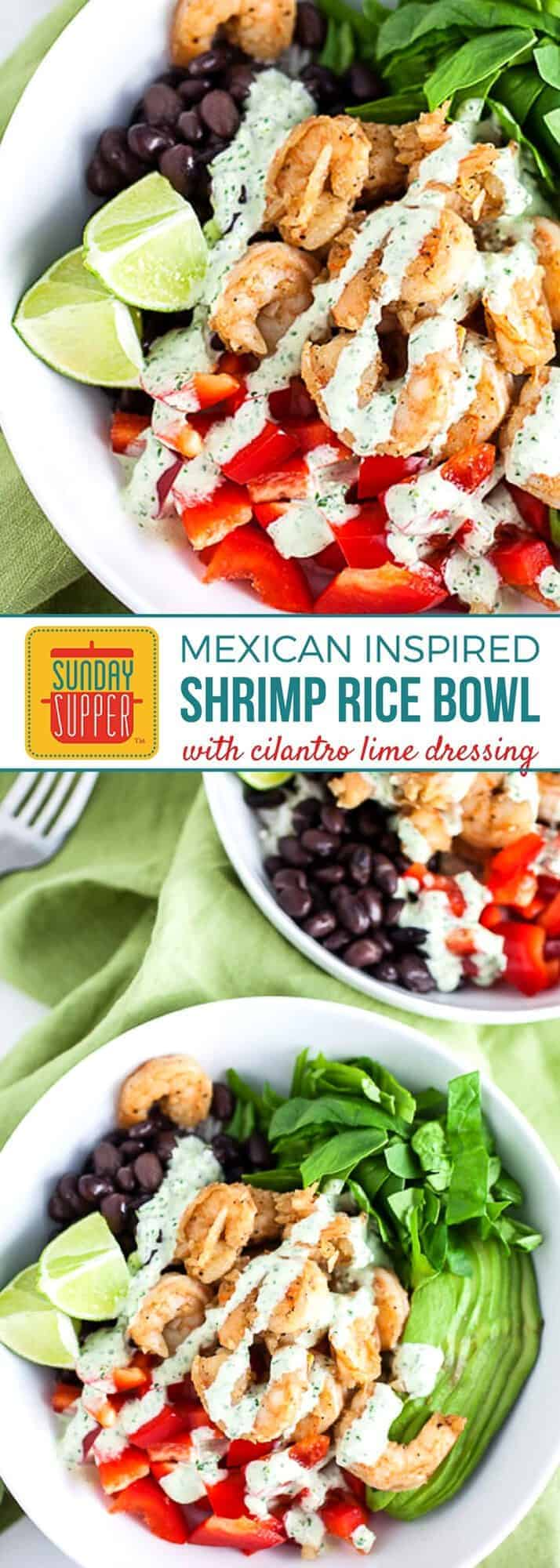 We LOVE digging into Healthy Rice Bowls! Our Mexican Rice Bowl with shrimp is a quick and easy meal perfect for lunch or dinner. It is full of vegetables & topped with a flavorful cilantro lime dressing. With a mix of grains, vegetables, and protein, rice bowls are a hearty and flavorful meal the whole family will enjoy. #HealthyRiceBowls #MexicanRice #ShrimpRecipes #EasyRecipes #SundaySupper