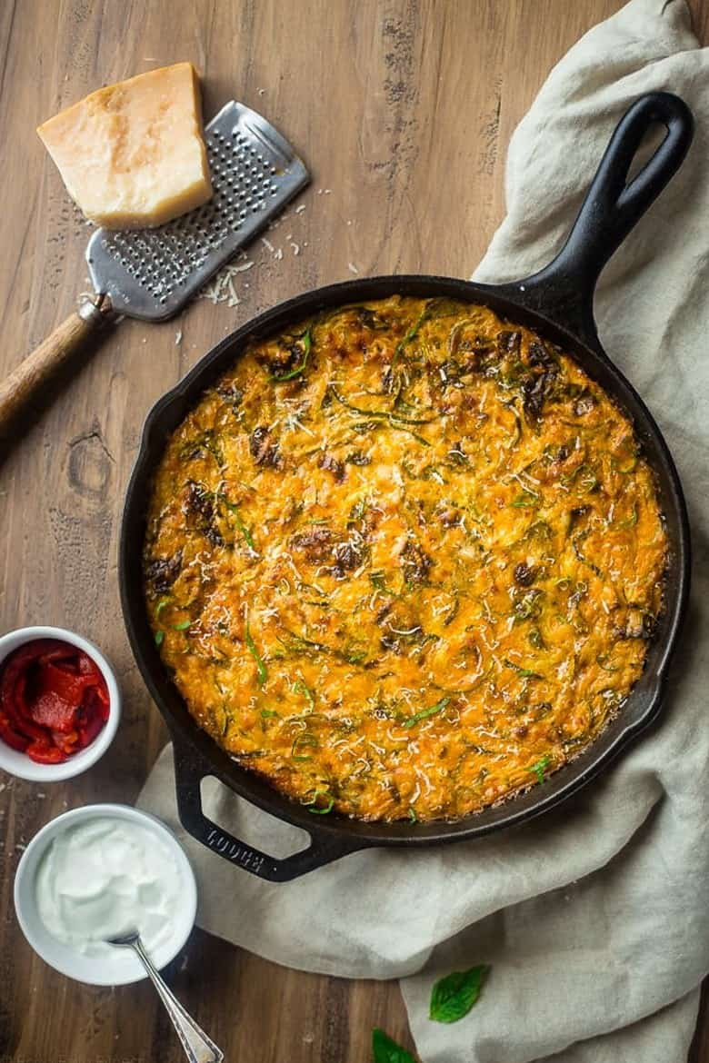 Spiralized Zucchini Casserole with Red Peppers, Spinach and Artichokes