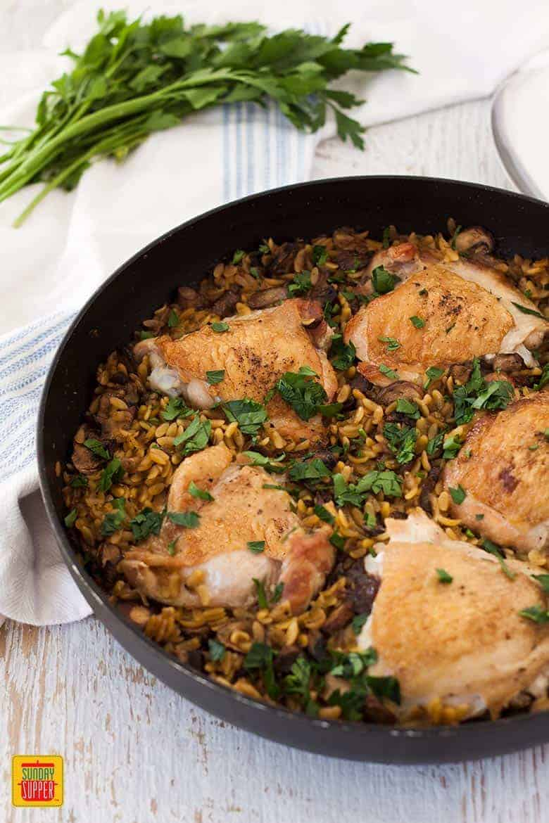 One Pot Chicken Orzo Pasta with Mushrooms in a skillet and ready to eat