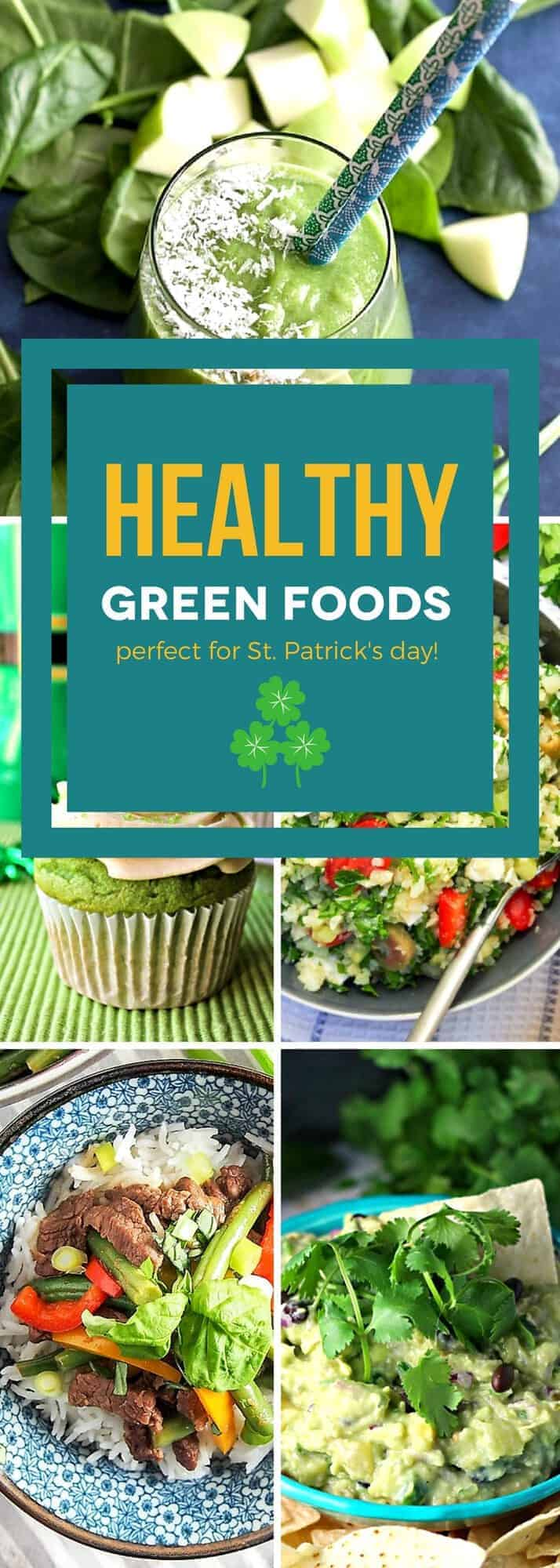 This collection of healthy green foods has it all, from healthy breakfast recipes to desserts so tasty that you'll forget they're good for you! Each one of these health-conscious recipes is packed with good-for-you greens and lots of flavor. These delicious healthy recipes are perfectly festive for St. Patrick's Day! #SundaySupper #greenrecipes #healthyrecipes #healthyitup #healthyeating