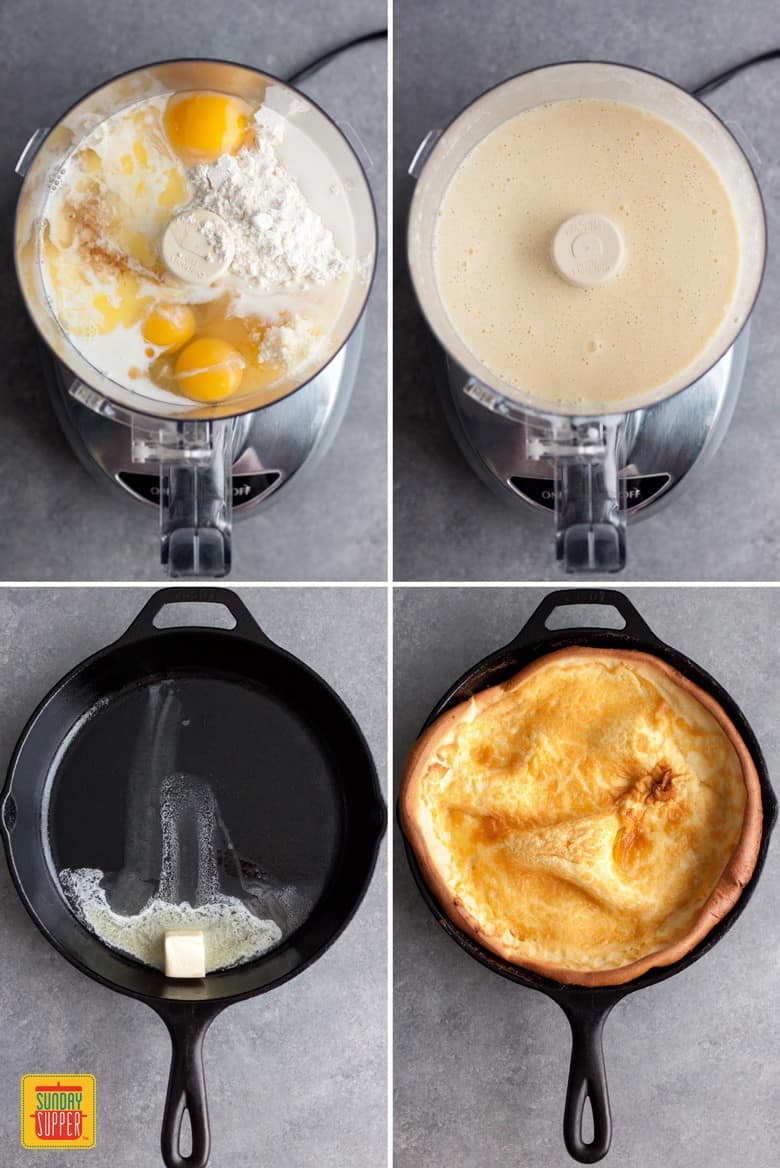 The process of making Berries and Cream Dutch Baby