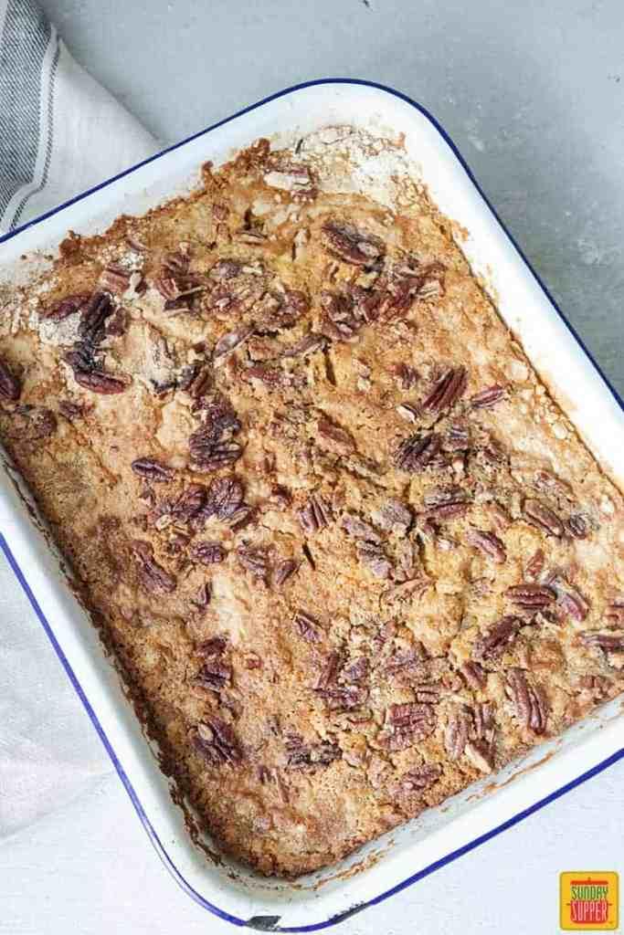 cooked pumpkin crunch recipe ingredients in baking pan