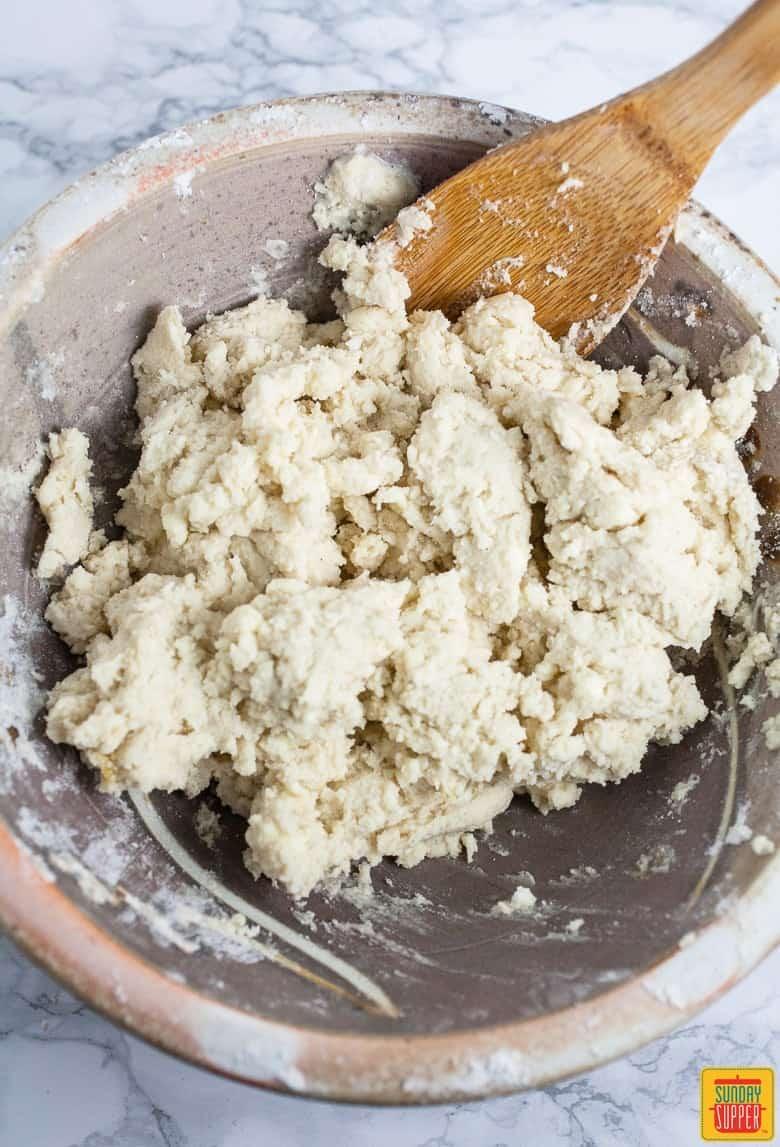 Mixing gluten free biscuit dough