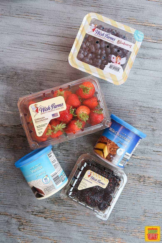 ingredients for making spider-man web berry dessert