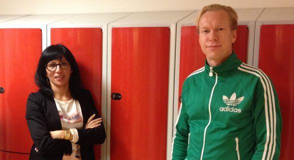 Rossana Dinamarca och Jesper Wiklund på Grönkullaskolan