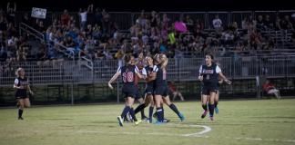CSUN Matadors women soccer team celebrates as they take a win.