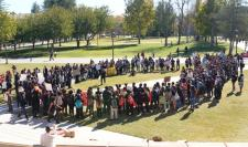 Hundreds of students gather around the Oviatt Lawn after marching across the CSUN campus showing their support for the events that happened at the University of Missouri on Wednesday, Nov. 18, 2015. (Raul Martinez / The Sundial)