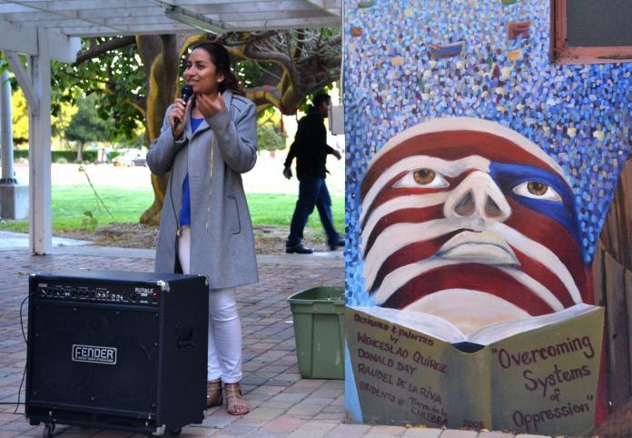 Raquel Flores stands behind speaker box, speaking