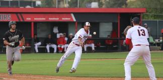 CSUN players toss the ball to one another