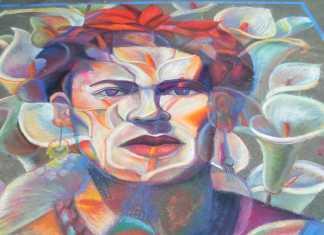 Chalk portrait of Frida Kahlo made of flowers