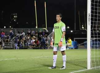 CSUN goalie watches ball