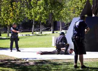 police surround suspect on CSUN campus