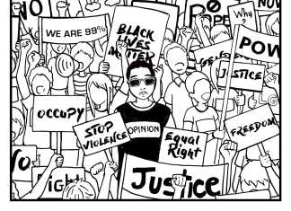 """cartoon shows protest with """"D.C society"""" written below"""