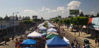 street fair tents and shoppers