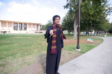 CSUN student on Oviatt Lawn dressed as Harry Potter