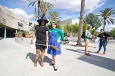 CSUN staff members dressed up as a with and Luigi from Mario
