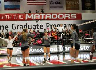 CSUN volleyball players shout for joy after winning a point