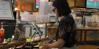 CSUN professor shown at salad bar