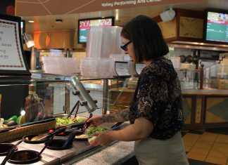 CSUN professor shown at salad bar