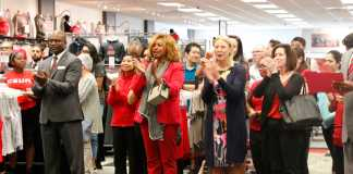 CSUN employees give applause for the reopening of the CSUN campus store