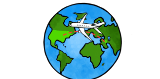 Illustration shows plane crossing the globe