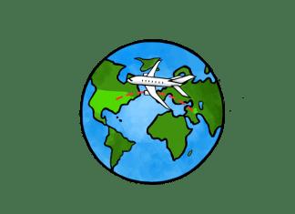 Illustration shows plane crossing the globe