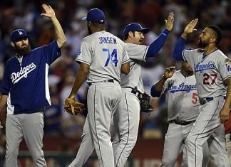 dodgers high-five each other