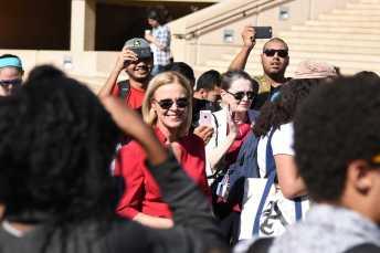 CSUN president is shown at CSUN anti-Trump protest