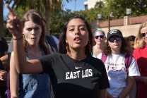 Student voices her opinion at Anti-Trump protest