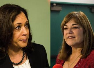 Photo shows Kamala Harris and Loretta Sanchez