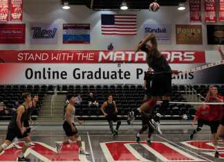Volleyball player prepares to spike the ball