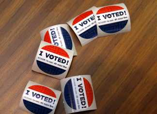 Photo shows voting stickers