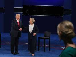 Trump and Clinton shake hands after debate