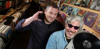 Phil Gallo and Gary Calamar pictured in record store