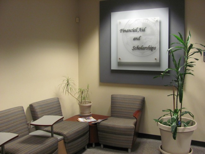 Photo shows the inside of the financial aid and scholarship office