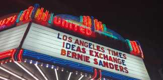 "Movie theater show list says, ""los angeles times ideas exchange bernie sanders"""