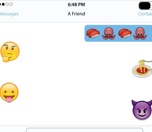 Illustration shows a texting conversation entirely using emojis