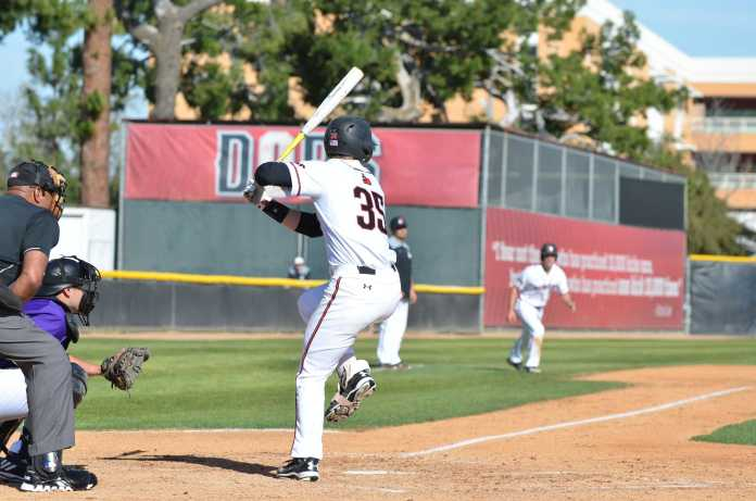 csun baseball player prepares to hit the ball