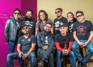 Panteon Rococo band members pose for a photo